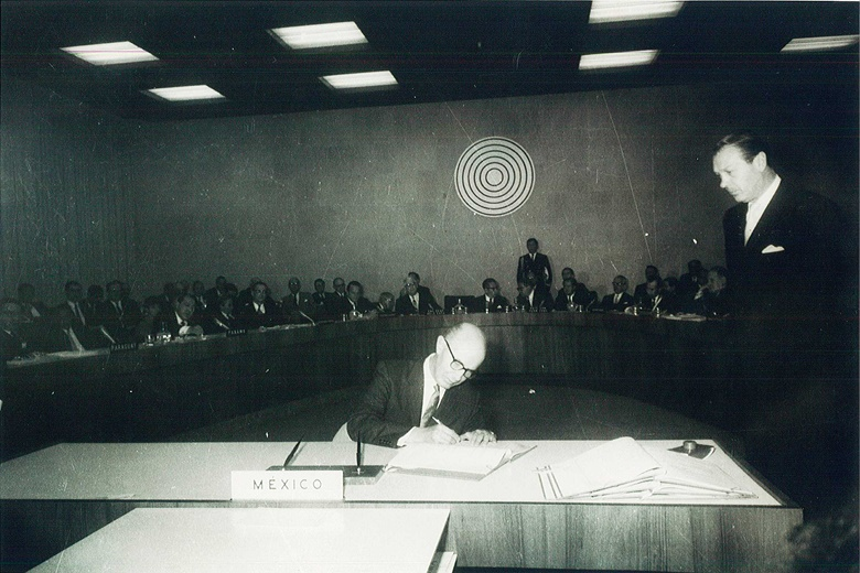 Alfonso García Robles signs the Treaty of Tlatelolco on behalf of Mexico on 14 February, 1967. Photo Courtesy of OPANAL Secretariat