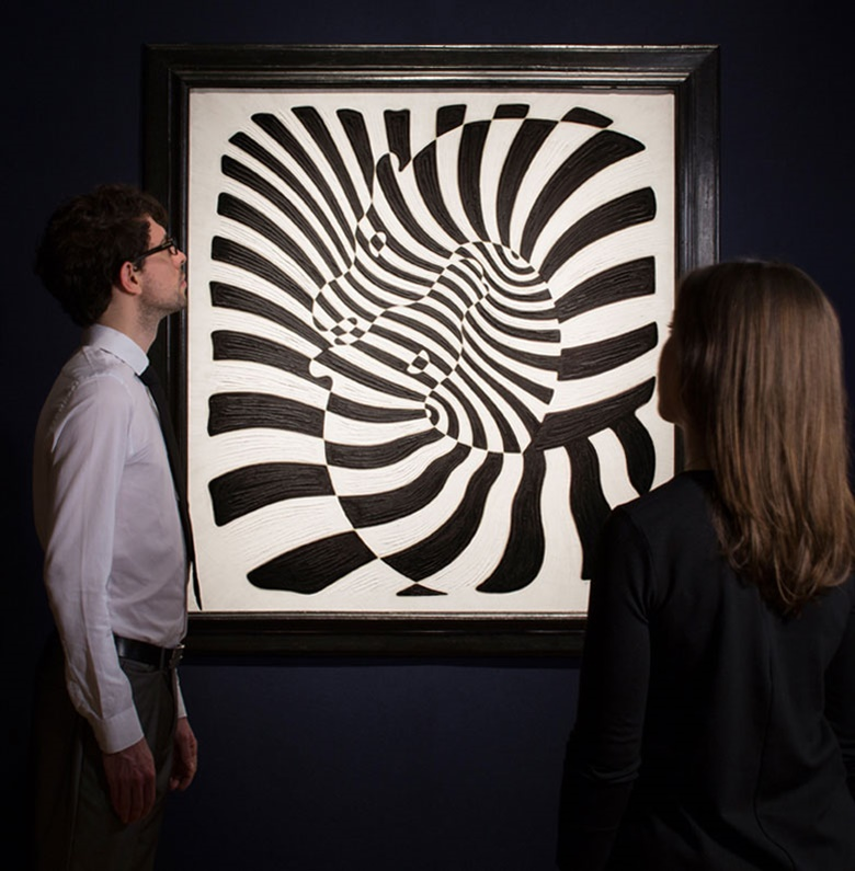 Victor Vasarely (1906-1997), Zèbres (Zebras), 1932-42. Oil on canvas, 43¾ x 40½ in (111 x 102.9 cm). Estimate £250,000-350,000. This work is offered in the Post War & Contemporary Art Evening Auction on 7 March 2017 at Christie's in London