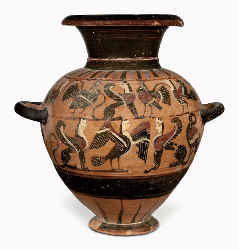 An Attic black-figured hydria. Attributed to the Tyrrhenian Group, c. 570-550 BC. 11¾ in (29.9 cm) high. Sold for $47,500 on 25 April 2017 at Christie's in New York