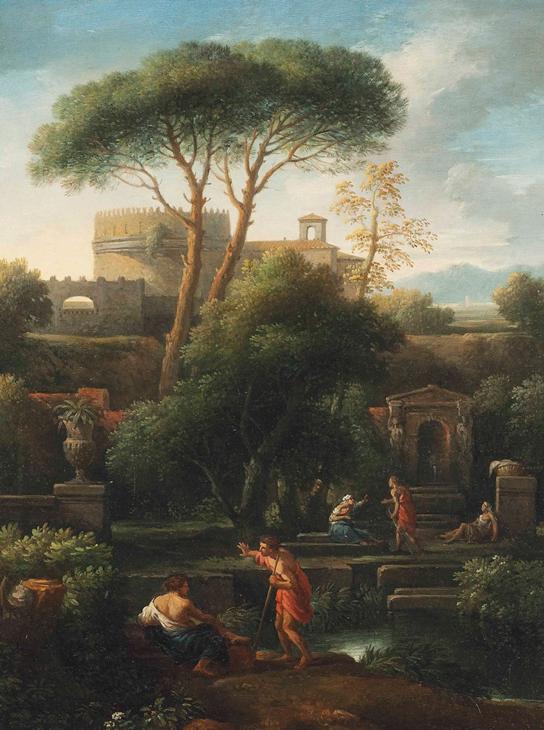 Jan Frans van Bloemen, called LOrizzonte (Antwerp 1662-1749 Rome), An Italianate landscape with washerwomen and other figures conversing by a stream, classical buildings including the tomb of Cecilia Metella beyond. Oil on canvas. 25½ x 19⅜ in (64.8 x 49.2 cm). Sold for £16,250$24,781 on 29 October 2015