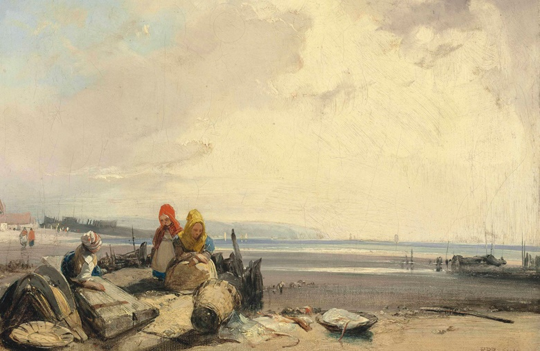 Richard Parkes Bonington (Arnold 1802-1828 London), On the Côte d'Opale, Picardy. Oil on canvas, unlined. 9½ x 13 in (24.2 x 33.1 cm). Sold for £1,370,500 on 30 June 2016