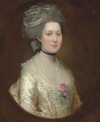 Thomas Gainsborough, R.A. (Sudbury, Suffolk 1727-1788 London), Portrait of Sarah Langston, bust-length, in a white silk dress with a rose on her chest. Oil on canvas. 76.8 x 63.8 cm. Sold for £18,750 on 29 April 2014