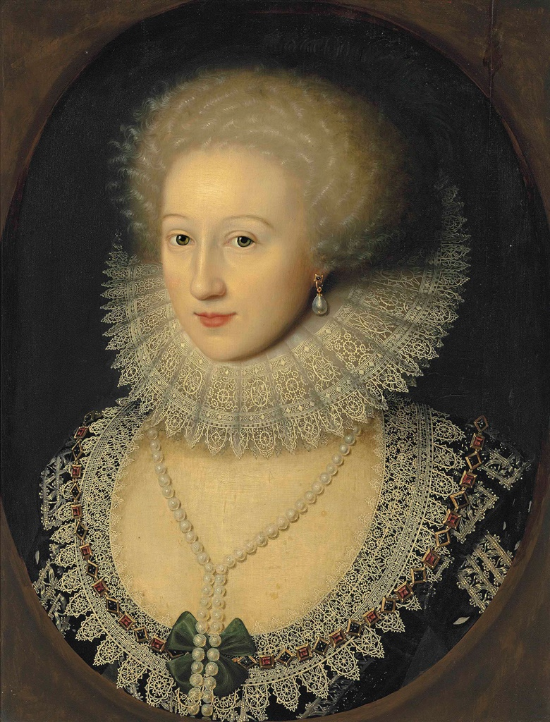 William Larkin (London c. 1585-1619), Portrait of a lady, bust-length, in a black dress with a reticella lace neckline and a cartwheel ruff, with a pearl necklace and earrings, in a feigned oval. Oil on panel. 22⅝ x 17½ in (57.5 x 44.4 cm). Sold for £266,500 on 7 July 2016