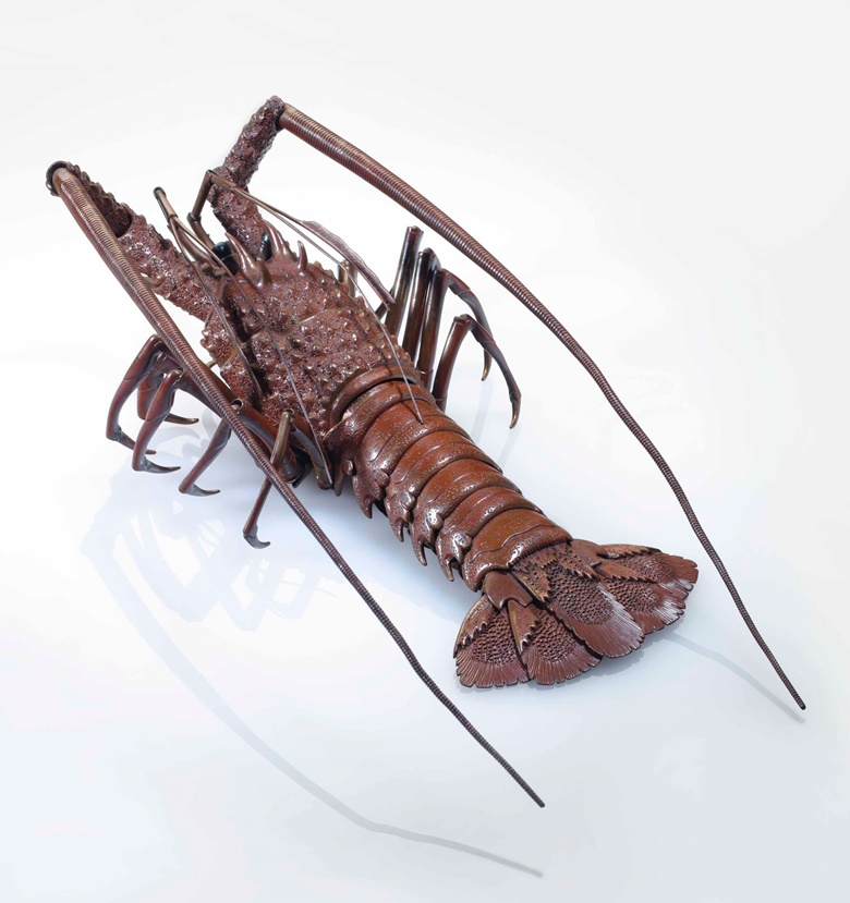 A bronze articulated model of a lobster titled Choraku mukyoku (Everlasting Pleasure). Early 20th century, signed Kozan (Takase Kozan, 1869-1934) with cursive monogram (KAO). Body 7½ in (19.1cm) long. Estimate $30,000-40,000. This lot is offered in An Inquiring Mind American Collecting of Japanese & Korean Art on 25 April 2017, at Christie's in New York