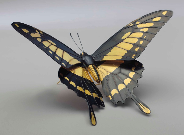 A soft-metal-inlaid articulated model of a butterfly. 21st century, signed Masahiro (Kamiyama Masahiro, b. 1955). 6½ in (16.5 cm) wide. Estimate $25,000-30,000. This lot is offered in An Inquiring Mind American Collecting of Japanese & Korean Art on 25 April 2017, at Christie's in New York