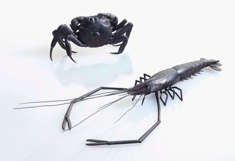 An iron articulated model of a crab. Edo period (18-19th century). Body 1⅝ in (4.1 cm) long. Estimate $18,000-22,000. An iron articulated model of a prawn. Edo period (18th-19th century), signed Myochin Munenaga. 10 in (25.4 cm) long. Estimate $18,000-22,000. These lots are offered in An Inquiring Mind American Collecting of Japanese & Korean Art on 25 April 2017, at Christie's in