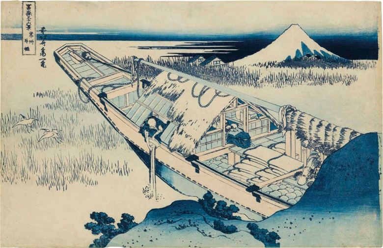 Katsushika Hokusai (1760-1849), Joshu Ushibori (Fuji from Ushibori in Hitachi Province), from the series Fugaku sanjurokkei (36 Views of Mount Fuji). 24.5 x 38.1 cm. Estimate $8,000-10,000. This lot is offered in An Inquiring Mind American Collecting of Japanese & Korean Art on 25 April 2017, at Christie's in New York