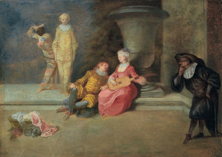 Jean-Antoine Watteau (Valenciennes 1684-1721, Pour garder lhonneur dune belle (To Protect the Honour of a Beautiful Woman). Oil on panel. 7½ x 10½ in (19 x 26.5 cm). Estimate $300,000-500,000. This lot is offered in Old Masters on 27 April at Christie's in New York