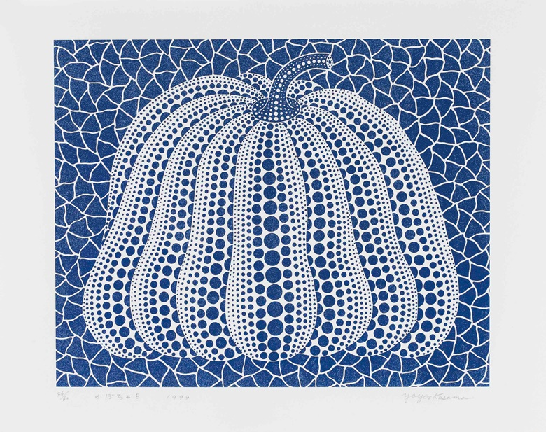 Yayoi Kusama (b. 1929), Pumpkin (Blue), 1999. Screenprint and glitter on paper, image 48 x 60 cm, sheet 60 x 76 cm. Estimate €5,000-7,000. This lot is offered in Post-War and Contemporary Art on 11-12 April at Christie's in Amsterdam