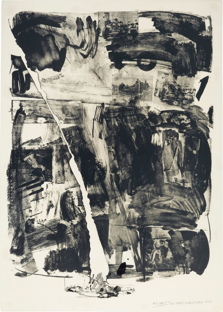Robert Rauschenberg (1925-2008), Accident, 1963. Image 37½ x 27 in (940 x 686 mm). Sheet 41¼ x 29¼ in (1048 x 743 mm). Estimate $40,000-60,000. This lot is offered in Prints & Multiples on 19-20 April 2017, at Christie's in New York