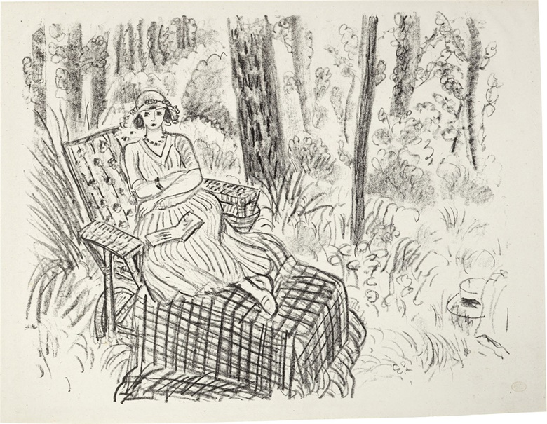 Henri Matisse (1869-1954). Jeune fille à la chaise-longue dans un sous-bois, 1922. Image 16¼ x 20¼ in (413 x 514 mm). Sheet 17¼ x 22⅞ in (438 x 581 mm). Estimate $6,000-8,000. This lot is offered in Modern Editions, 9-18 May 2017, Online
