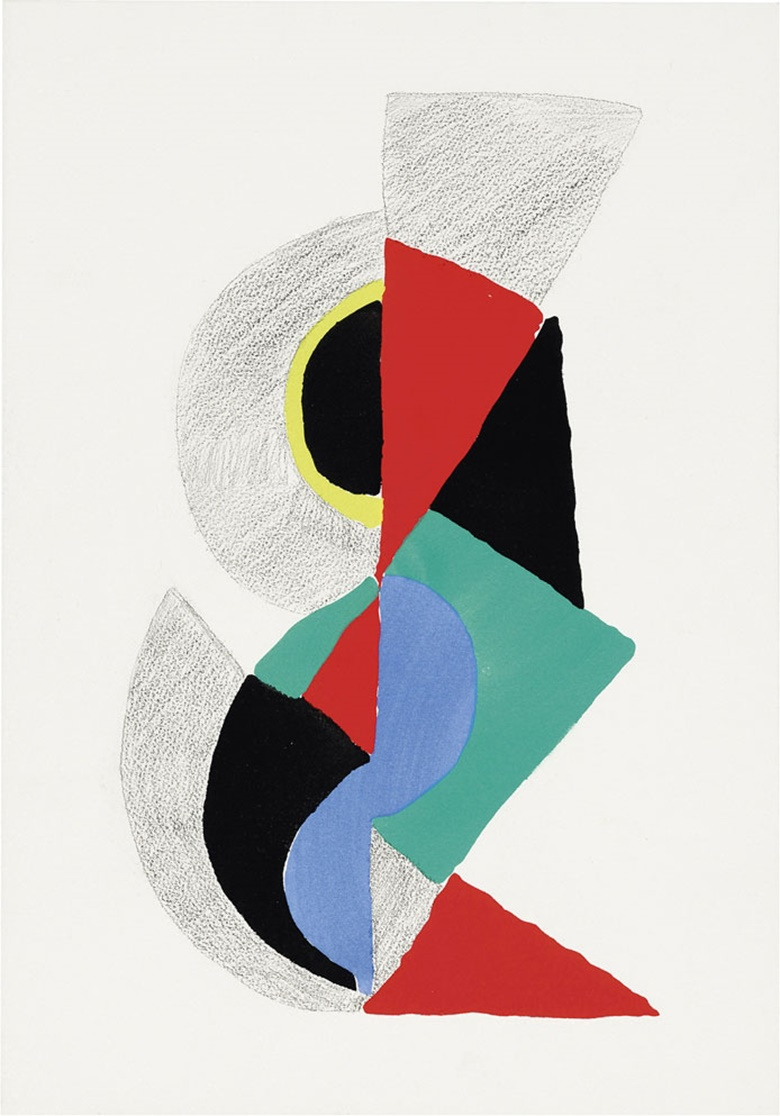 Sonia Delaunay (1884-1979). Les Illuminations, 1973. Image 16¼ x 20¼ in (413 x 514 mm).  Sheet 17¼ x 22⅞ in (438 x 581 mm). Estimate $5,000-7,000.  This lot is offered in Modern Editions, 9-18 May 2017, Online