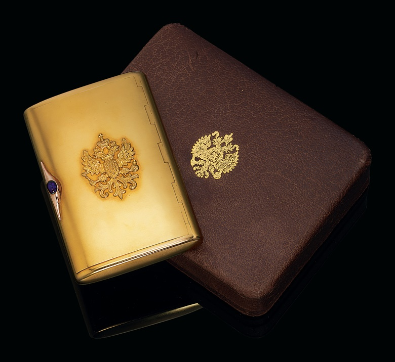 A jewelled two-colour gold presentation cigarette case, mark of Andrei Bragin, St. Petersburg, circa 1909. Sold for £8,750 on 26 November 2012 at Christie's London