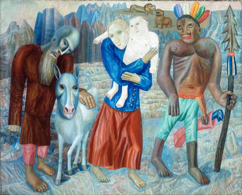 Pavel Nikolaevich Filonov, The Flight into Egypt (The Refugees), 1918. Oil on canvas. Stretcher 28⅛ x 35⅛ in.; 71.4 x 89.2 cm. Mead Art Museum at Amherst College; Gift of Thomas P. Whitney (Class of 1937)