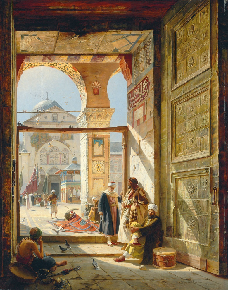 Gustav Bauernfeind (German, 1848-1904), The Gate of the Great Umayyad Mosque, Damascus, 1890. Oil on panel. 47⅝ x 38 in (121 x 96.5 cm). Sold for £2,505,250 on 2 July 2008 at Christie's in London