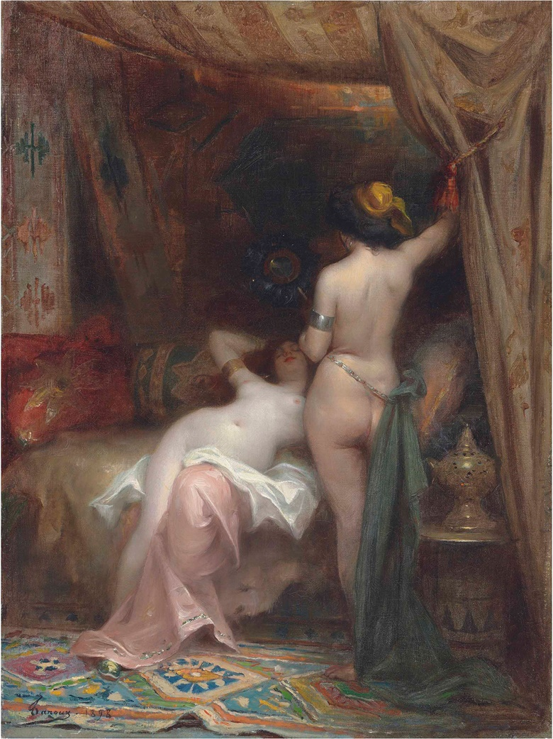 Henri Adrien Tanoux (French, 1865-1923), In the Harem, 1898. Oil on canvas. 24⅛ x 18⅜ in (61.2 x 46.6 cm). Sold for £17,500 in 19th Century European & Orientalist Art on 13 July 2017 at Christie's in London