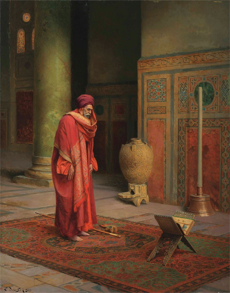 Ludwig Deutsch (Austrian, 1855-1935), At Prayer, 1923. Oil on panel. 22 x 17⅜ in (55.9 x 44.1 cm). Sold for £605,000 in 19th Century European & Orientalist Art on 13 July 2017 at Christie's in London