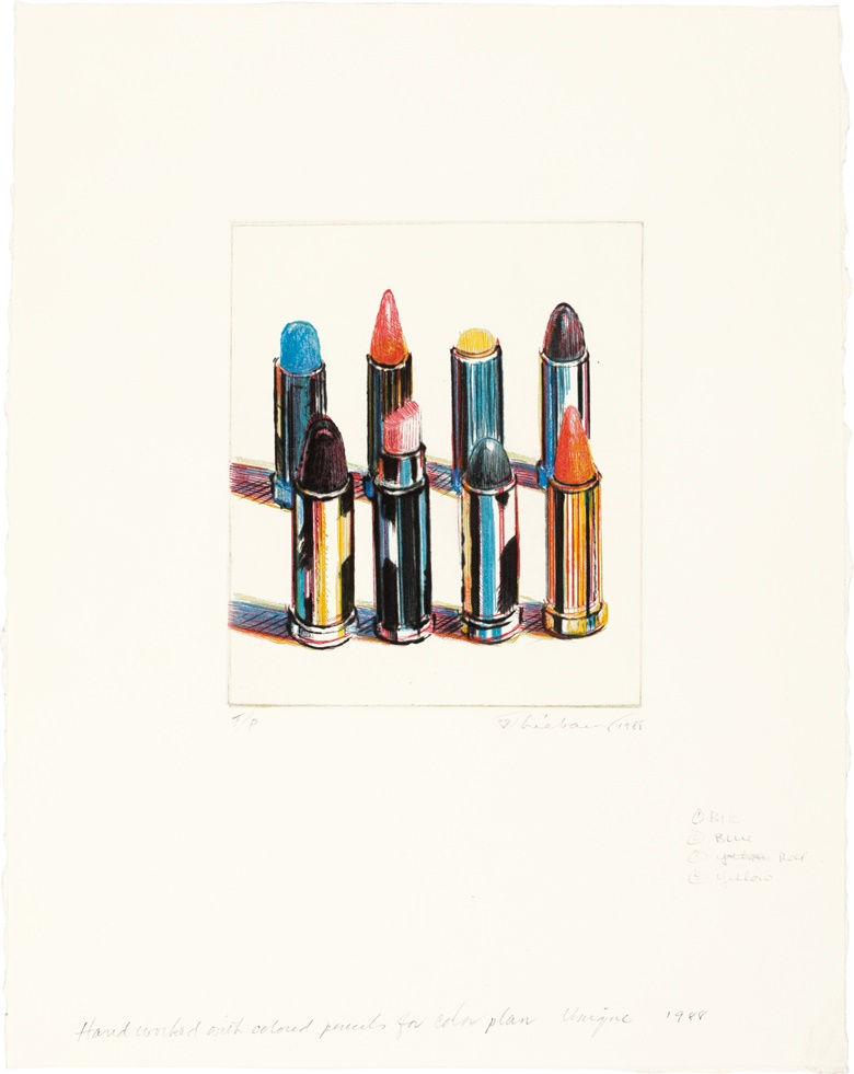 Wayne Thiebaud (b. 1920), Eight Lipsticks, 1988. Drypoint in colours, hand-worked by the artist, on wove paper, 1988, signed and dated in pencil, inscribed TP (a trial proof, aside from the edition of 60), published by Crown Point Press, San Francisco. Image 7 x 6 in (177 x 152 mm). Sheet 15¼ x 12 in (387 x 305 mm). Sold for $87,500 on 29 September 2016 at Christie's in New York