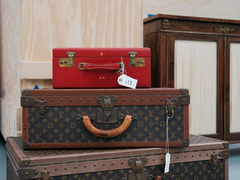 A monogrammed 1970s Mark Cross leather vanity case and other items of Hepburn's luggage