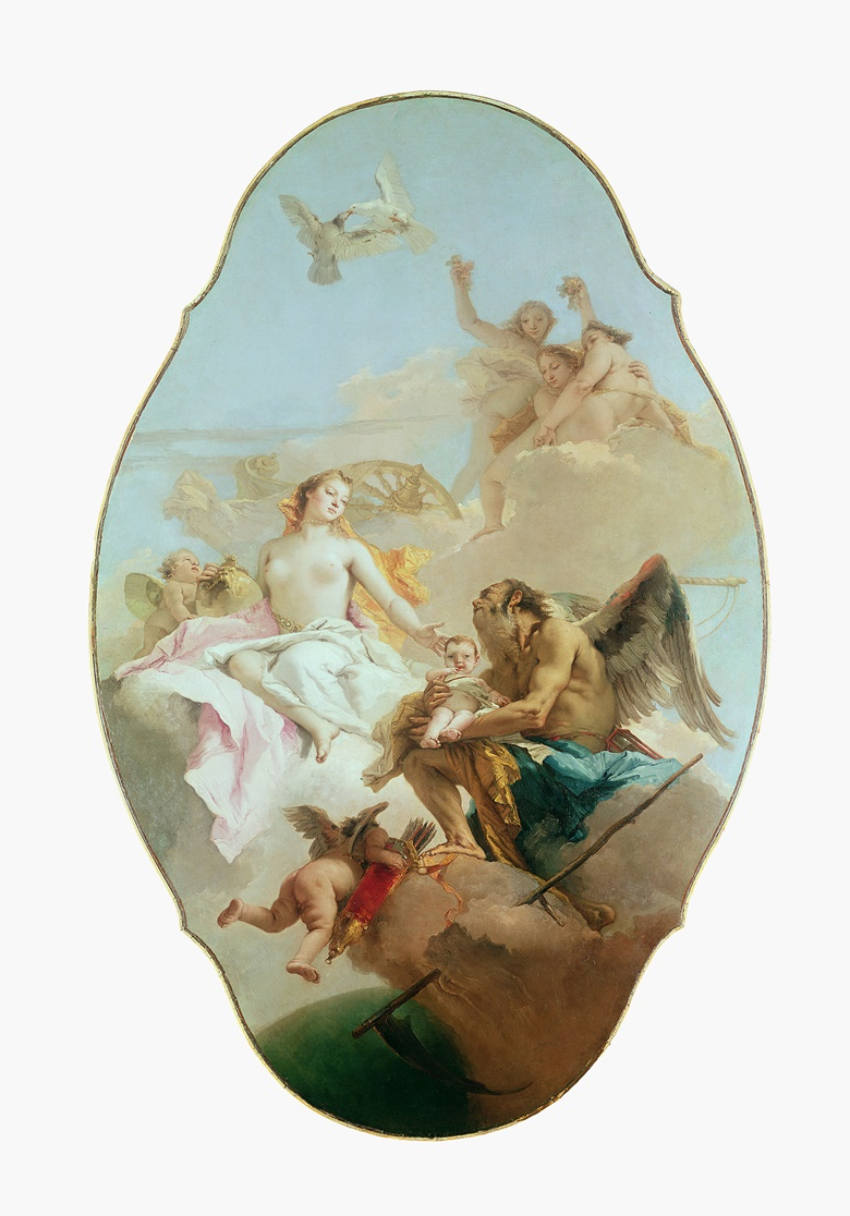 Giovanni Battista Tiepolo (1696-1770), An Allegory with Venus and Time, c. 1754-58. Irregular oval ceiling painting, 292 x 190.5 cm (115 x 75 in). Sold for £409,500 on 27 June 1969 at Christie's in London. © National Gallery, London, UKBridgeman Images