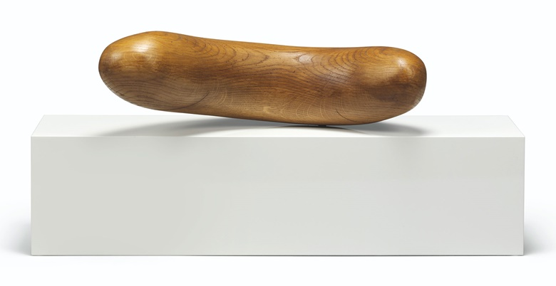 Claudia Comte (b.  1983), Flips 2, 2013. Oak and metal on car-lacquered MDF, 15¾ x 35½ x 11 in (40 x 90.1 x 28 cm). This lot was offered in First Open on 15 September 2017 at Christie's in London and sold for £8,750
