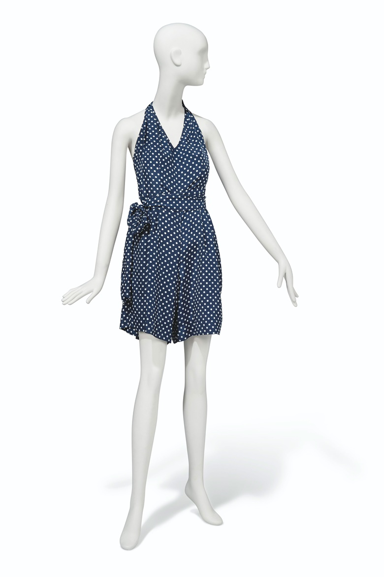 A navy blue spotted summer playsuit, Unlabelled. A navy blue spotted summer playsuit. Estimate £500-800. This lot is offered in Audrey Hepburn The Personal Collection on 27 September 2017  at Christie's in London