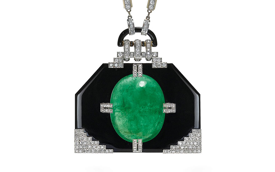 An important emerald, onyx and diamond pendant necklace, by Georges Fouquet. Sold for CHF 492,500 on 13 November 2017  at Christie's in Geneva