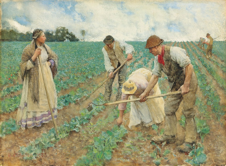 Sir George Clausen, R.A., R.W.S. (1852-1944), Hoeing Turnips. 14¾ x 20  in (37.5 x 50.8  cm). Estimate £150,000-250,000. This lot is offered in the British Impressionism Evening Sale on 22 November at Christie's in London