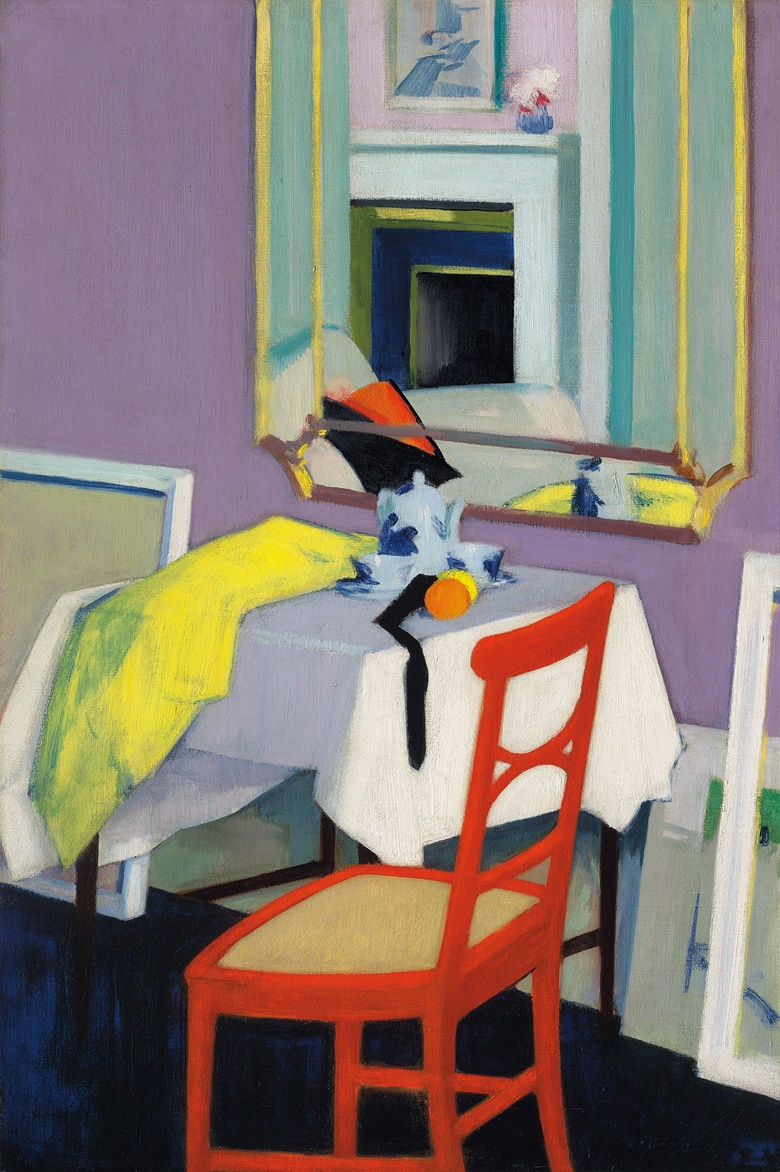 Francis Campbell Boileau Cadell, R.S.A., R.S.W. (1883-1937), Interior (The Red Chair), circa 1928. 30 x 20¼  in (76.2 x 51.4  cm). Estimate £400,000-600,000. This lot is offered in the British Impressionism Evening Sale on 22 November at Christie's in London