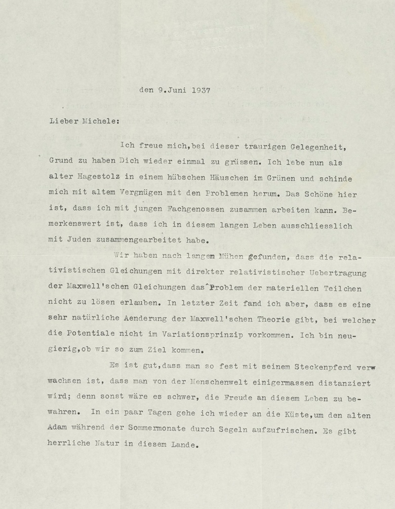 1937. In this letter Einstein looks back at the passage of time since he thought up the theory of special relativity in company with Besso more than 30 years previously That makes roughly 109 seconds, after all, and it seems amazing that one couldnt manage to make more productive use of that time. Einsteins regrets at the passage of time, Princeton, 9 June 1937. In German, 1½