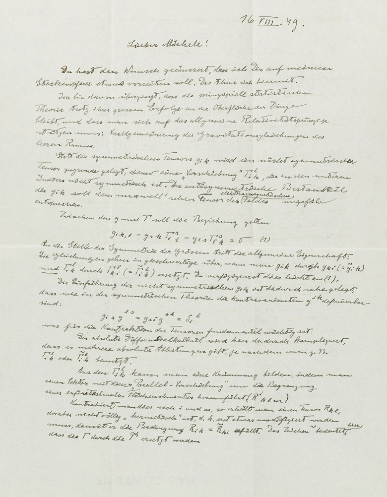 1949. Mathematics for Einstein always came second to creative speculation here he gives a dazzling exposition of his great 'theory of everything' – unified field theory – but concludes with a sense of resignation. What is logically simple is so difficult mathematically, Princeton, 16 August 1949. In German, two pages, 278 x 218mm Envelope. Estimate $20,000-30,000. This