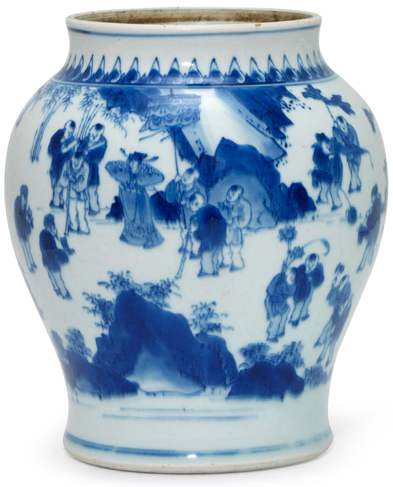 A blue and white hundred boys jar, Transitional period, mid-17th century. 8.5 in (21.6 cm) high. This lot was offered in The Art of China Online Winter Sale, 30 November to 6 December 2017, and sold for $6,875