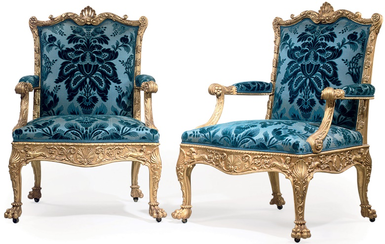 Designed by Robert Adam and made by Thomas Chippendale, 1765. A pair of George III giltwood armchairs. Sold for £2,169,250 in June 2008 at Christie's London