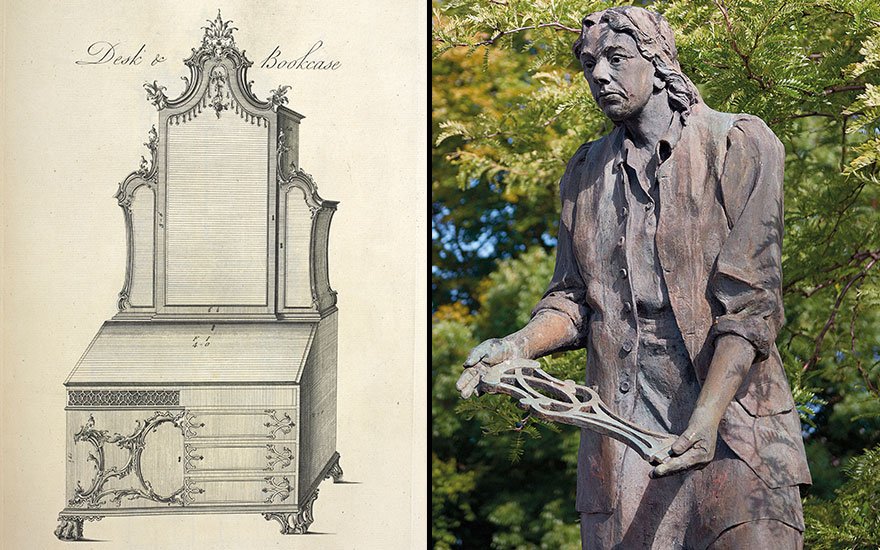 Left detail of The Gentleman and Cabinet-Maker's Director (photo credit Alamy). Right a statue of Thomas Chippendale erected in his home town, Otley in Yorkshire