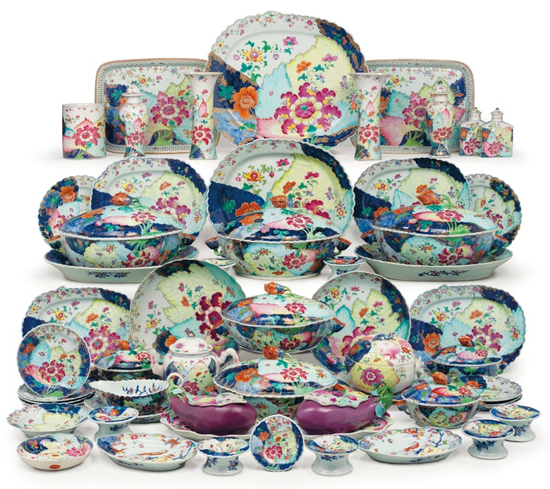 A large Chinese export Tobacco Leaf assembled dinner service, Qianlong period, circa 1775. Estimate $200,000-300,000. This lot is offered in The Collection of David and Peggy Rockefeller English & European Furniture, Ceramics & Decorations, Part I on 9 May at Christie's in New York