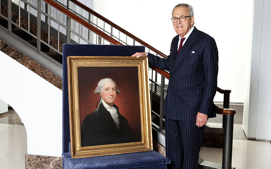 Stephen Lash, Chairman Emeritus of Christie's, with Gilbert Stuarts 'Vaughan type' portrait of George Washington, painted in 1795