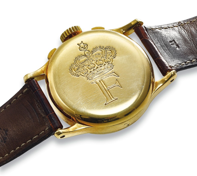 King Farouk had this watch engraved with a crowned 'F' on the reverse because he believed the letter brought good fortune