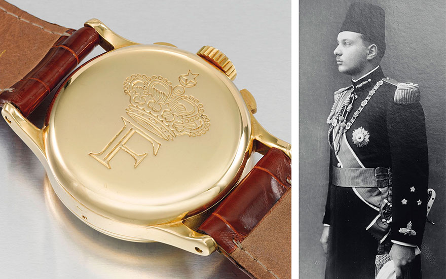 An extremely rare Patek Philippe 1518; King Farouk of Egypt, who commissioned this watch when he was 25
