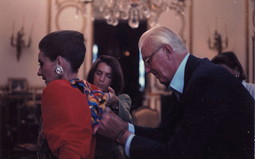Audrey Hepburn being fitted by Hubert de Givenchy. One of nine photographs by Jean-Claude Sauer (1935-2013) for Paris Match, October 1991. Eight unique Polaroid prints and one chromogenic print on