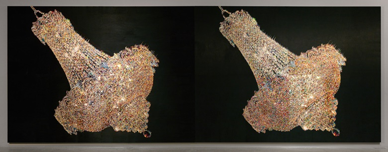 Kyungah Ham, What you see is the unseen  Chandeliers for Five Cities BC 01-02, 2012-13. North Korean hand embroidery, silk threads on cotton, middle man, anxiety, censorship, wooden frame, approx. 2400hrs  4 persons. 265 x 389 cm. Courtesy of the artist and Kukje Gallery