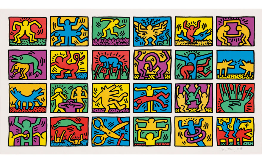 Keith Haring (1958-1990), Retrospect. Image 1035 x 1950 mm; Sheet 1160 x 2080 mm. Estimate £120,000-180,000. Offered in Prints and Multiples on 20 September 2018 at Christie's in London