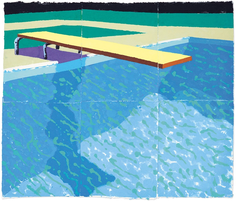 David Hockney (b.1937), Sprungbrett mit Schatten (Paper Pool 14), 1978. Pigment in paper pulp on six joined sheets. Overall 71¾ x 84½ in. Offered in the Post-War and Contemporary Art Evening Sale in November 2018 at Christie's in New York
