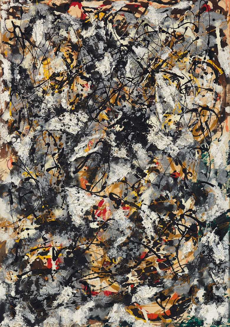 Jackson Pollock (1912-1956), Composition with Red Strokes, painted in 1950. Oil, enamel and aluminium paint on canvas. 36⅝ x 25⅝ in (93 x 65.1 cm). Sold for $55,437,500 on 13 November 2018 at Christie's in New York