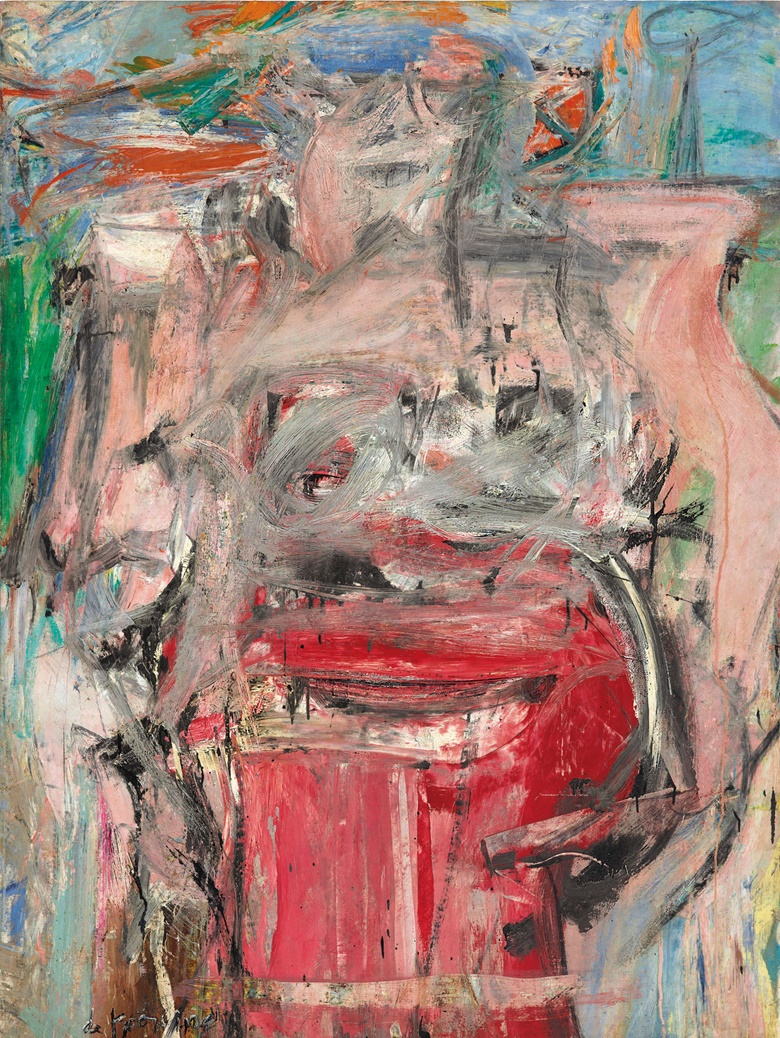 Willem de Kooning (1904-1997), Woman as Landscape, painted in 1954-1955. Oil and charcoal on canvas. 65½ x 49⅜ in (166.3 x 125.4 cm). Sold for $68,937,500 on 13 November 2018 at Christie's in New York