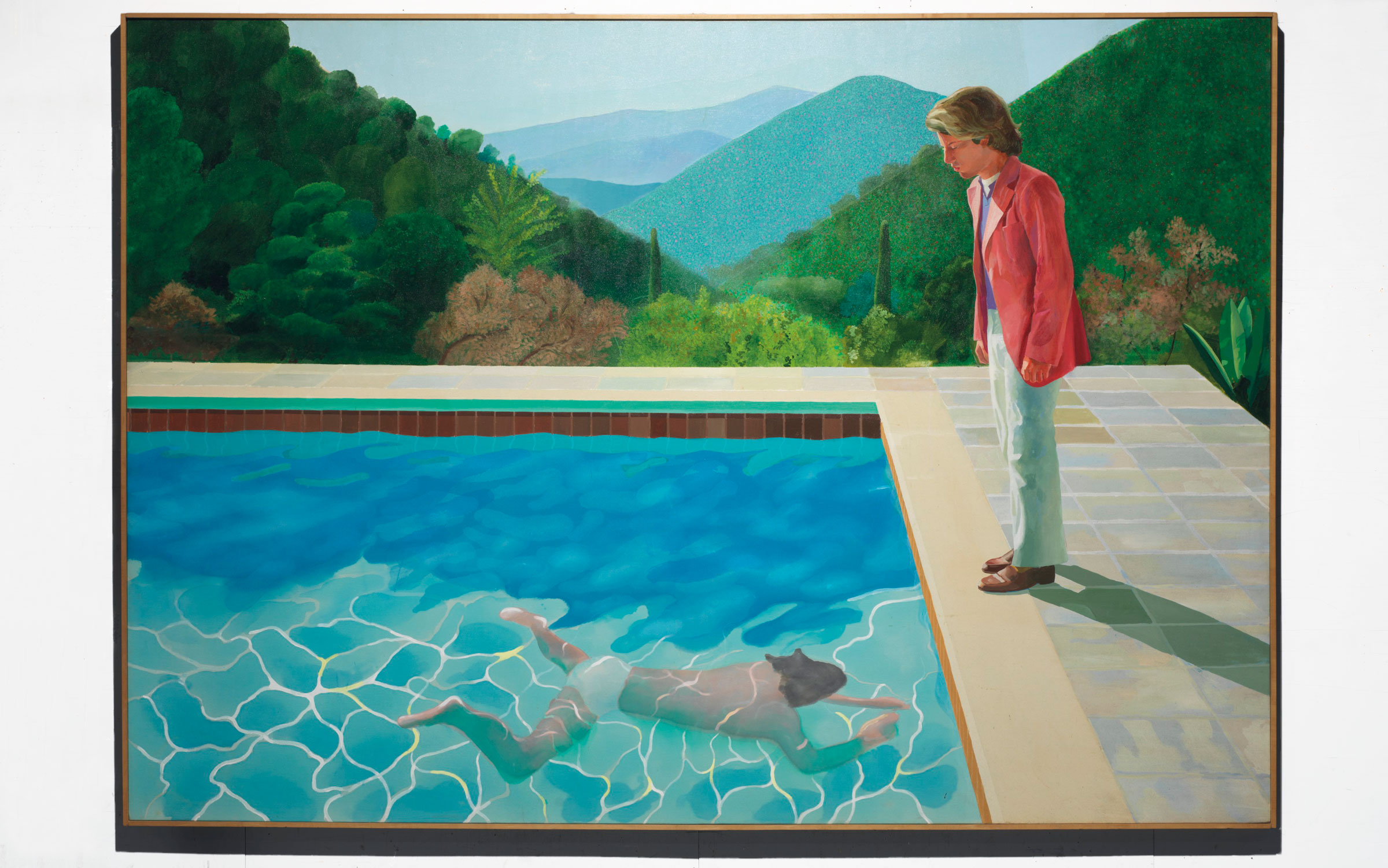 Property from a Distinguished Private Collector. David Hockney (b. 1937), Portrait of an Artist (Pool with Two Figures), painted in 1972. Acrylic on canvas. 84 x 120 in (213.5 x 305 cm). Sold for