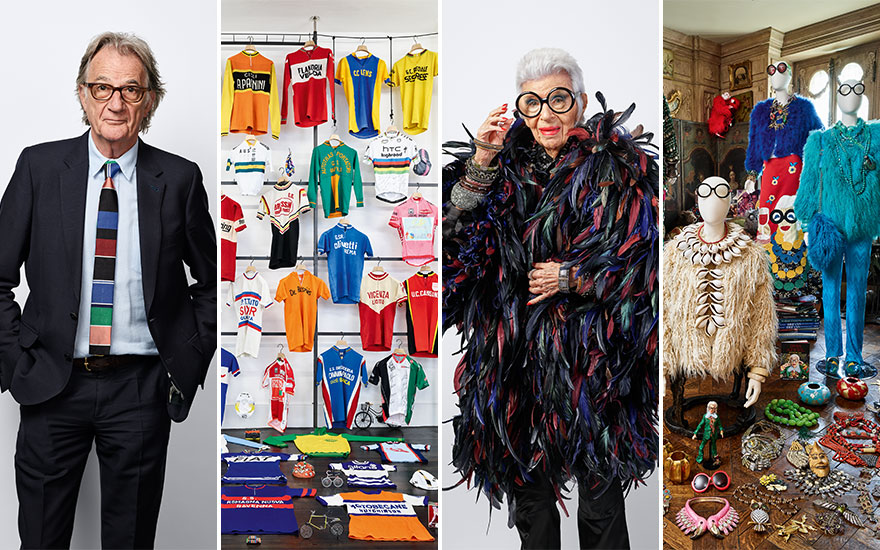 Paul Smith and part of his collection of cycling jerseys; Iris Apfel and some of her couture creations. Photographs by James Mollison. Creative direction by BAM