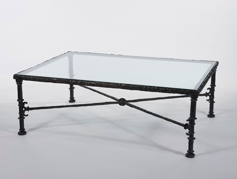 Diego Giacometti (1902-1985), A 'Grecque' table, model conceived 1965. Patinated bronze and glass. 17¼ in high; 50½ in wide; 36in deep. Estimate $250,000-350,000. Offered in Alberto and Diego Giacometti Masters of Design on 12 November at Christie's in New York
