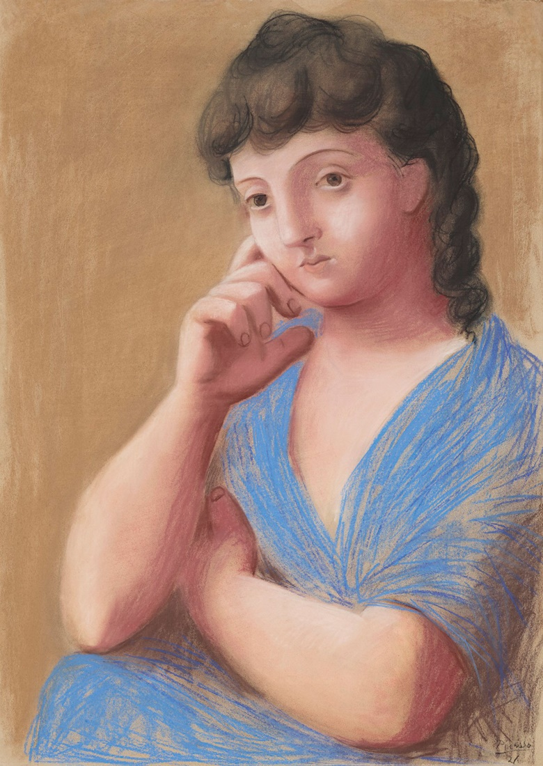 Pablo Picasso (1881-1973), Femme accoudée, 1921. Pastel on paper. 41¼ x 29⅝ in (104.7 x 75 cm). Estimate $10,000,000-15,000,000. Offered on 11 November in the Impressionist and Modern Art Evening Sale Including Property from The Collection of Herbert and Adele Klapper at Christie's in New York © 2018 Estate of Pablo Picasso  Artists Rights Society (ARS), New