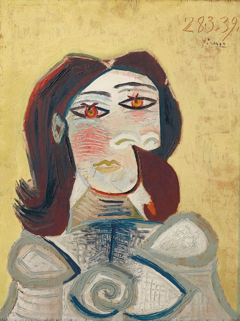 Pablo Picasso (1881-1973), Buste de femme (Dora Maar), 28 March 1939. Oil on canvas. 23⅝ x 17¾ in (59.9 x 45.2 cm). Estimate $5,000,000-8,000,000. Offered in the Impressionist and Modern Art Evening Sale on 11 November at Christie's in New York © 2018 Estate of Pablo Picasso  Artists Rights Society (ARS), New York