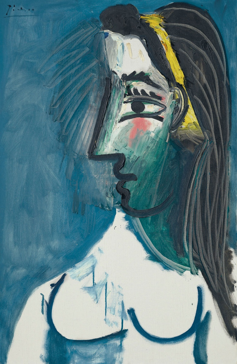 Pablo Picasso (1881-1973), Buste de femme nue (Tête de profil), 15 May 1963. Oil on canvas. 36⅛ x 23⅝ in (92.8 x 59.9 cm). Estimate $5,000,000-8,000,000. Offered in the Impressionist and Modern Art Evening Sale on 11 November at Christies in New York © 2018 Estate of Pablo Picasso  Artists Rights Society (ARS), New York
